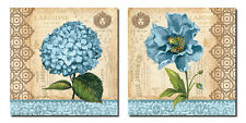2 Beautiful Blue Hydrangea and Poppy Floral Set; Two 12X12 Poster Prints