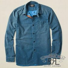 $295 RRL Ralph Lauren INDIGO RUGGED HOUNDSTOOTH PATTERN BULLDOG WORK SHIRT-MEN-L