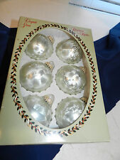 6 Vtg Christmas by Krebs Glass Ornament Balls SILVER GREEN Silver Crown Cap