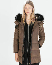 ZARA Women Mid-Length PARKA FUR BROWN PUFFER Anorak SZ S