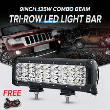 "9""inch 135W CREE LED Work Light Bar Tri-Row Combo Offroad UTE SUV Lamp Truck 4WD"