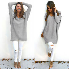 Womens Ladies V-Neck Chunky Knitted Oversized Sweater Sweatshirt Jumper Dress