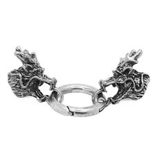 2 Sets Antique Silver Dragon Head Leather Bracelet End Cap with Spring Clasp