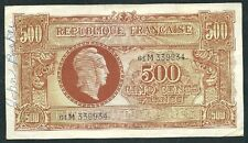 "FRANCE1944 FIVE HUNDRD FRANC BANKNOT ""AU"" ""MARIANNE"" #2975 PRICE CUT & FREE SHIP"