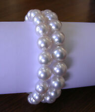 AUST 10.8mm!! WHITE SOUTH SEA PEARL BRACELET 100% UNTREATED+18ct GOLD CLASP+CERT