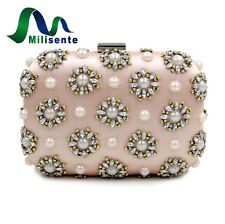 Milisente Women Handbag Lady Clutch Purse Beaded Flower Pink Satin Bridal Bag
