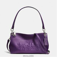 NWT Coach F36416 Charley Crossbody In Bicolor Embossed Pebble Leather -Violet
