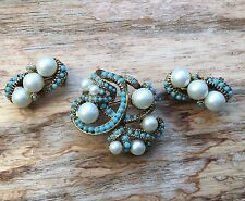 Vintage Faux Pearl Turquoise Glass Bead Brooch And Earring Set Estate Jewelry