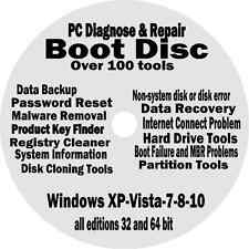 Windows XP VISTA 7 8 10 PRO BOOT CD Diagnose REPAIR DISC Sony Dell HP Lenovo PCs