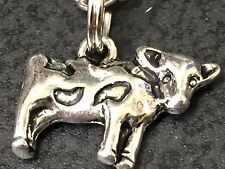 "Cow Charm Tibetan Silver Necklace 18"" BIN"