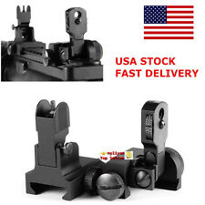 US Flip Up Front&Rear Iron Sight Set BUIS QD Attach Floding Backup For Rifle