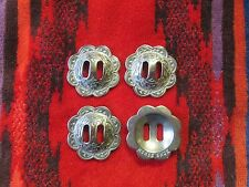 "4 Jeremiah Watt Horse Shoe Slotted Conchos 1 1/2"" w Silver Finish 4 Saddle, Bags"