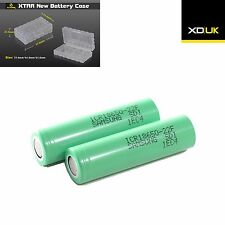 2 Samsung ICR18650-22F 18650 batteries Li-ion 4.4A CONTINUOUS Discharge 2200mAh