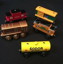 5 Thomas & Friends Authentic Wooden Railway Sodor Fuel Car Line Caboose Box Car