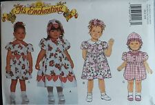 95 BUTTERICK 3914 Toddler Girls Dress Romper & Hat PATTERN 1-2-3-4 UC