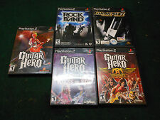 5 Play Station 2 Games Guitar Hero Rock Band Golded Eye 007