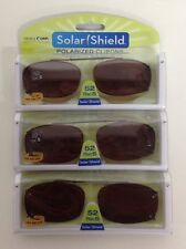 3 SOLAR SHIELD Clip-on Polarized Sunglasses Size 52 Rec 5 Brown Lens Full Frame
