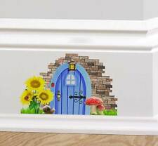 Blue Fairy Pixie Elf Door Wall Sticker Decal Cute Graphic Skirting Board