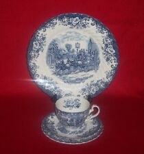 Set 4 Johnson Brothers Coaching Scenes Dinner Bread Plates Cup & Saucer - Blue