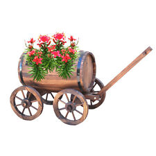 Wooden Wheelbarrow Planter Outdoor Patio Decorative Natural Plants Garden Grow