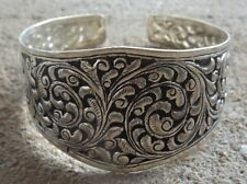 Lovely Indian handmade ethnic style bangle silver plated ~ cuff bracelet