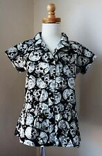 NWT hand/made cotton sculls print top bottom frills,sleeve toddler girl size 2.