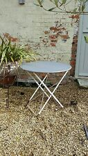 Vintage Zinc Topped French Style Garden Table Folding Cafe Metal Antique Bistro