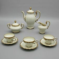 Vtg Rosenthal Selb Germany Pompadour Gold Tea Pot Creamer Sugar Bowl Cup Saucers