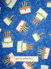 Birthday Party Cake Confetti Toss Blue Cotton Fabric QT 23545-Y Party On Yard