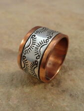 Beautiful Navajo Stamped Copper & Sterling Silver Ring sz. 9 1/2
