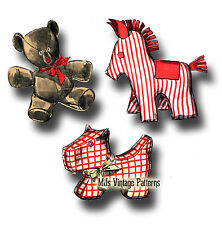 Vintage 1940s Scottie Dog, Teddy Bear & Pony Stuffed Animal Toy Pattern