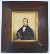c1840s MINIATURE WATERCOLOR PORTRAIT MAN FOLK ART SIGNED AMERICAN/ENGLISH