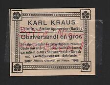 Urloffen Baden, Pubblicità 1912, Karl Kraus frutta spediti EN GROS