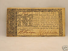 Fine 245 yr old Colonial Currency Note $6 March 1, 1770 - Annapolis, Maryland