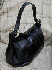 Furla Black Croc Embossed Leather Hobo Shoulder Bag Italy