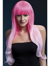 Emily Wig Two Tone Pink Long Soft Curl New Adult Halloween Cristmas Womens Fever