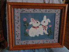 Home Interior by Ava Freeman pair of Rabbits with Flowers