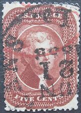 USA 1857-61 5c Jefferson #28A F-VF with data + Red cancel cat. $3,500