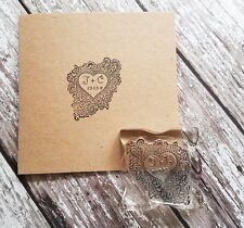 "WEDDING STAMP, PERSONALISED BESPOKE INITIALS & DATE 2"" or 50mm heart"