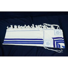 WOOL TALLIT WITH BLUE STRIPES - Made in Israel - Jewish Prayer Shawl - SIZE 18