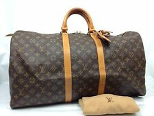Auth Louis Vuitton Monogram Keepall Bandouliere 55 Travel Bag  6L120360p