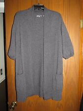 Vince $345 Gray 100% Cashmere Elbow Sleeve Long Open Front Cardigan L