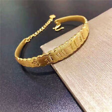 New Authentic 24K Yellow Gold 3D Carved Buddhist Bless Word Bangle 1pcs