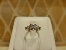 Antique Art Deco platinum transitional cut diamond engagement ring square 0.50ct