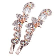USA Bobby Pin Rhinestone Crystal Hair Clip Hairpin Butterfly Gold Clear Simple