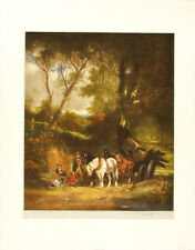 LAWRENCE JOSSET Signed Vintage Mid Century c1954 Mezzotint CARTING TIMBER