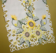 New Yellow Sunflower Embroidered Cutwork Kitchen Dining Table Runner 175cm M431R
