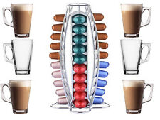 40 NESPRESSO COFFEE POD TOWER STAND HOLDER RACK + 6 FREE LATTE GLASSES MUGS CUPS