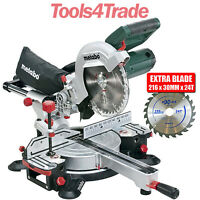 "Metabo KGS216M 216mm 8"" Laser Slide Compound Mitre Saw 240V With 24T Extra Blade"