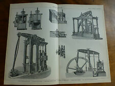 1874 Incisione MOTORI A VAPORE-cylinder & VALVOLA sul petto, beam-engine & Woolf's